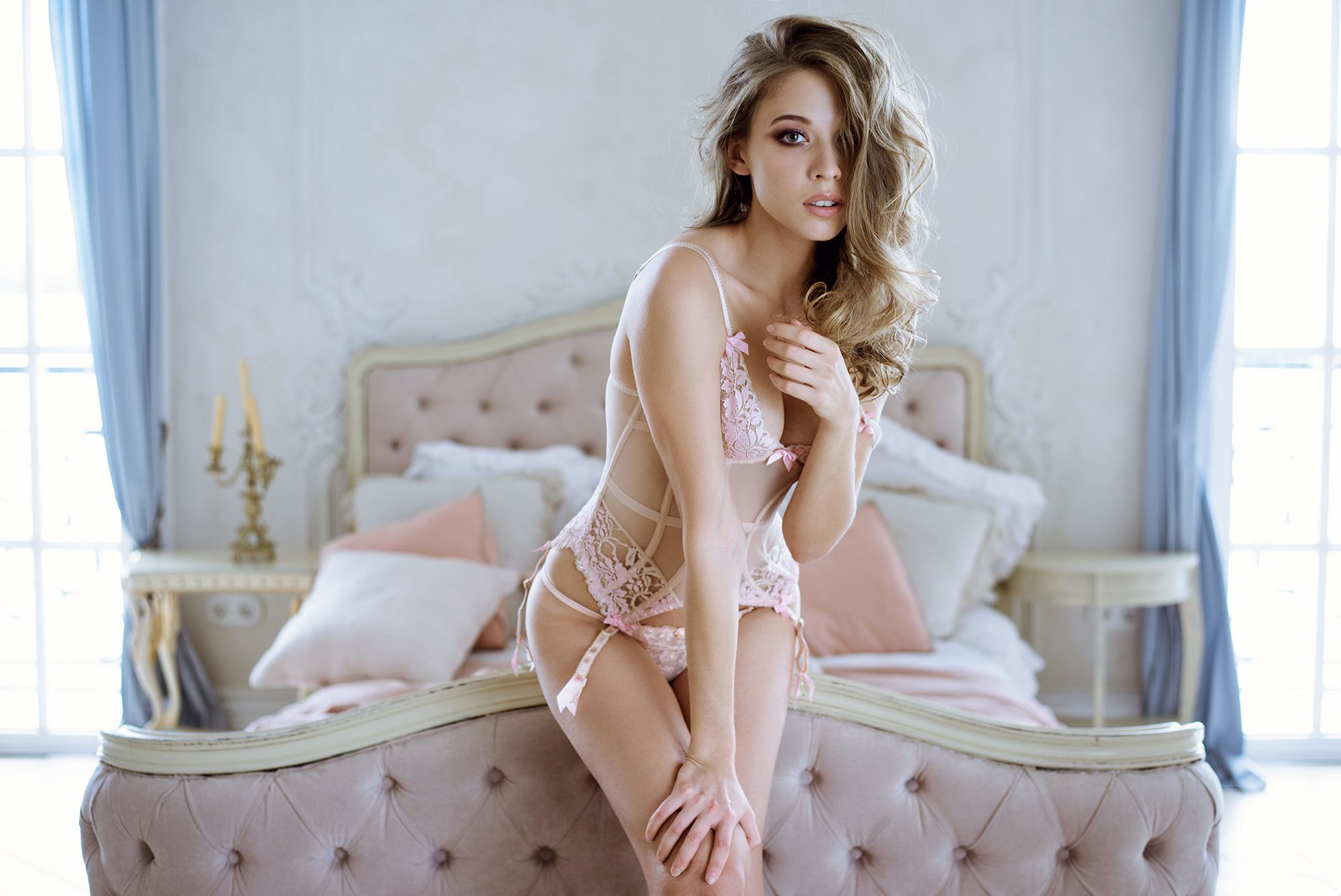 beautiful sexy lady in pink lingerie